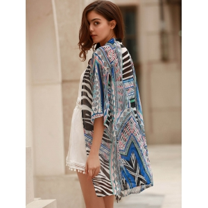 Vintage 3/4 Sleeve Printed Thin Cardigan For Women -