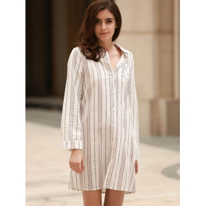 Stylish Long Sleeve Vertical Striped Shirt Dress For Women -