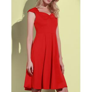 Retro Sweetheart Neck Solid Color Sleeveless Dress For Women - RED L