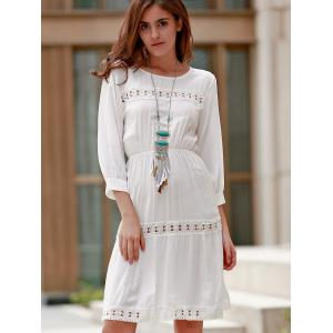 Ladylike Round Collar 3/4 Sleeve White Hollow Out Dress For Women -
