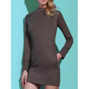 Brief Turtleneck Pure Color Long Sleeve Dress For Women - GRAY L