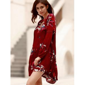 Long Sleeve Floral Asymmetrical Tunic Flowy Dress -