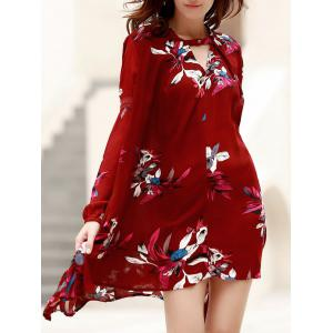 Long Sleeve Floral Print Asymmetric Flowy Dress - Wine Red - L