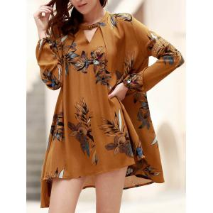 Long Sleeve Floral Asymmetrical Tunic Flowy Dress