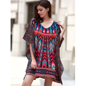 Vintage V Neck 3/4 Batwing Sleeve Printed Women's Dress -