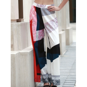 Chic High-Waisted Hit Color Loose-Fitting Women's Pants -