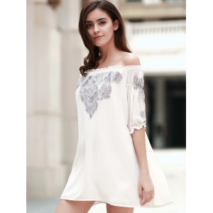 Chic Off-The-Shoulder 3/4 Sleeve Embroidered Women's Dress -