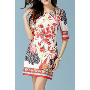 Retero Half Sleeve Round Neck Printed Women's Dress - WHITE L