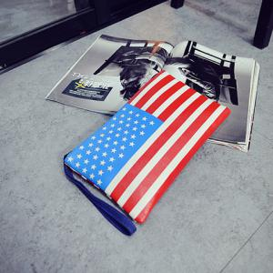Trendy PU Leather and American Flag Design Clutch Bag For Women -