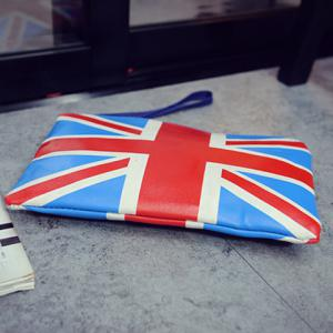 Stylish Zipper and British Flag Design Clutch Bag For Women -