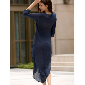 Fashionable Plunging Neck 3/4 Sleeve Lace-Up High-Low Hem Dress For Women - DEEP BLUE 2XL