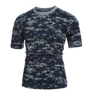 Men's Slim Fit Short Sleeves Camo Round Collar T-Shirt