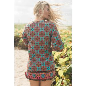 Ethnic Style V-Neck Full Print 3/4 Sleeve Dress For Women - COLORMIX M