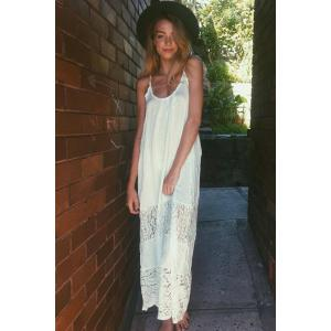 Bohemian Spaghetti Strap Backless Lace Splicing Dress For Women -