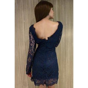 Plunge Long Sleeve Lace Mini Bodycon Dress - BLUE S