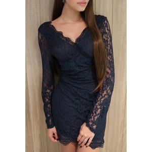Plunge Long Sleeve Lace Mini Bodycon Dress