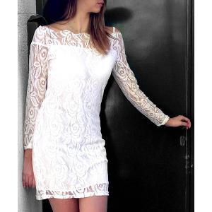 Off Shoulder Mini Lace Fitted Party Dress