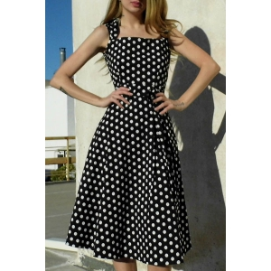 Vintage Turn-Down Collar Sleeveless Polka Dot Bowknot Embellished Women's Dress