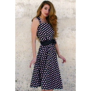 Vintage Turn-Down Collar Sleeveless Polka Dot Bowknot Embellished Women's Dress -
