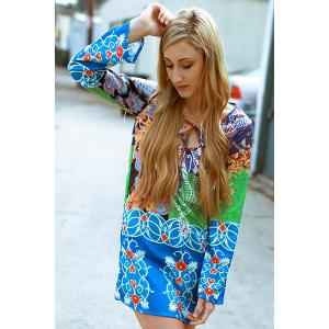 Fashionable Plunging Neck Long Sleeve Colorful Printed Chiffon Dress For Women - COLORMIX M