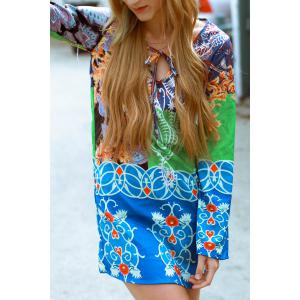 Fashionable Plunging Neck Long Sleeve Colorful Printed Chiffon Dress For Women - M