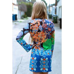 Fashionable Plunging Neck Long Sleeve Colorful Printed Chiffon Dress For Women -