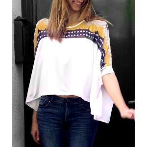 Stylish Round Collar Bat-Wing Sleeve Print Color Block Irregular Hem Women's T-shirt