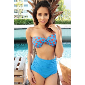 Women's Swimsuits Swimwear Bikini Vintage Push Up Bandeau High Waisted Bikini Set -