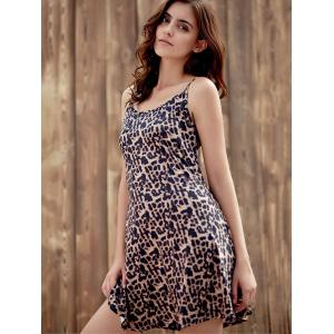 Stylish Spaghetti Strap Leopard Print Sundress For Women -