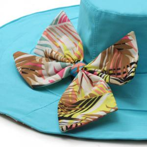 Chic Big Bowknot Leaf Pattern Bottom Reversible Sun Hat For Women -