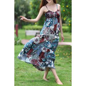 Bohemian Spaghetti Strap Floral Print Lace-Up Women's Dress -