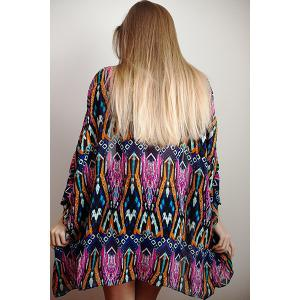 Batwing Printed Swing Long Kimono Cover Up -