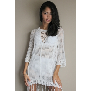 Open Knit Beach Tunic Cover Up Dress -