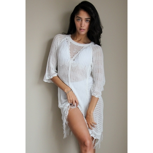 Sexy Scoop Neck Openwork Fringed Cover Up For Women - WHITE ONE SIZE(FIT SIZE XS TO M)