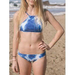 Sexy Halter Floral Print Denim Bikini Set For Women