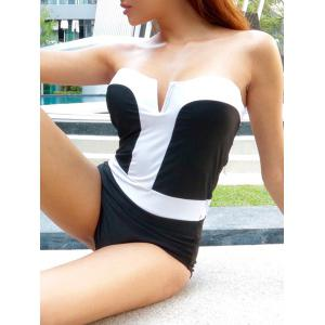 Strapless Bandeau One Piece Swimsuit - As The Picture - M