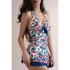 Cute Halter Strawberry Print Bandage One-Piece Women's Swimwear -