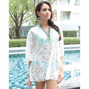 Sheer Lace Tunic Beach Cover Up - WHITE ONE SIZE(FIT SIZE XS TO M)