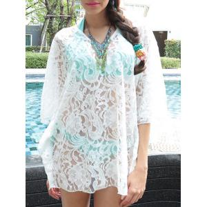 Sheer Lace Swing Tunic Beach Cover Up - White - One Size(fit Size Xs To M)