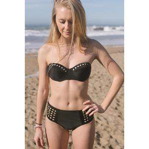 Alluring  Hollow Out Solid Color Women's Bikini Set - BLACK S