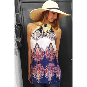 Ethnic Round Neck Sleeveless Printed Dress For Women - OFF WHITE S