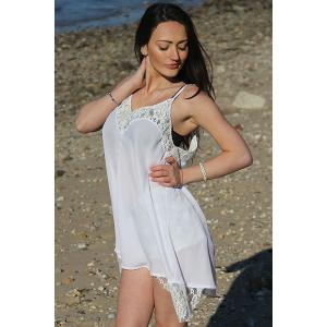 Spaghetti Strap Asymmetrical Backless Summer Dress - WHITE S