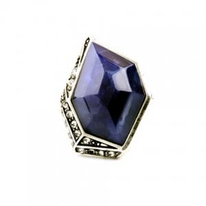 Vintage Alloy Faux Sapphire Geometric Ring -