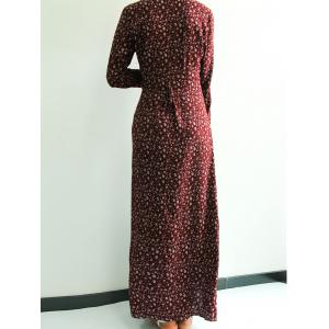 Plunging Neck Front Slit Printed Maxi Dress - CLARET S
