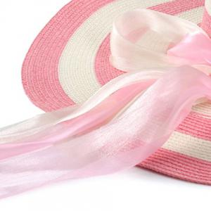 Chic Double Bow Lace-Up and Chain Embellished Striped Straw Hat For Women -