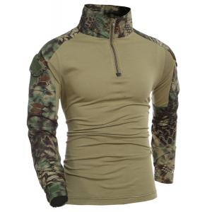 Outdoor Pullover Half Zip Color Block T-Shirt For Men