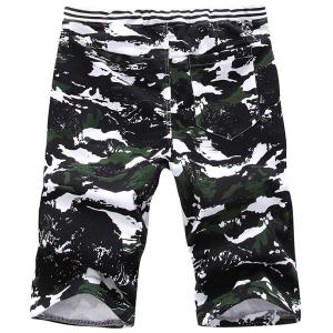 Vogue Straight Leg Camo Print Lace-Up Shorts For Men -