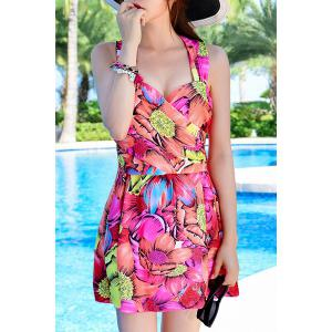 Fashionable Criss-Cross Floral Print Two-Piece Women's Swimsuit -