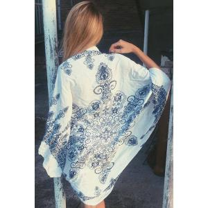 Elegant Dolman Sleeve Print Kimono Blouse For Women -