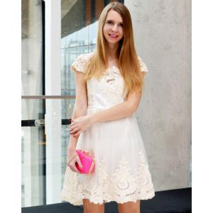 Vintage Square Neck High Waist Lace and Gauze Spliced Ball Gown Dress For Women - OFF-WHITE S